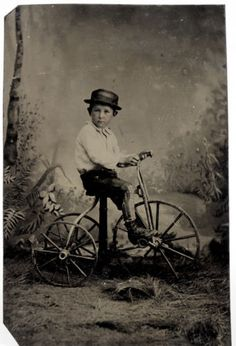1-6th-Plate-Tintype-of-boy-on-a-Tricycle-Antique-Tintype