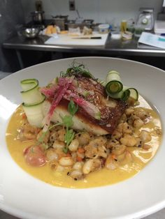 Grouper/Sungold Tomato Gazpacho/Hominy Salad/Watermelon Radish/Zucchini Ribbons. A dish I made at my last job. Hope you guys and gals enjoy! #TTDD