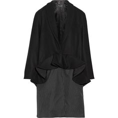 Paper London Plot ruffled wool-blend and pinstriped twill coat (€260) ❤ liked on Polyvore featuring outerwear, coats, jackets, black, peplum coat, shawl coat, wool blend coat, lapel coat and ruffle coat