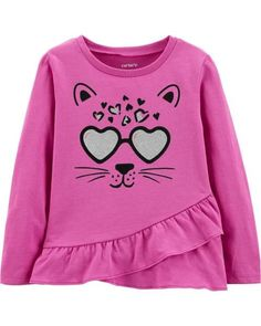NWT Girl/'s Oshkosh Size 4//5 PINK Short Sleeve GLITTER IS MY FAVORITE COLOR