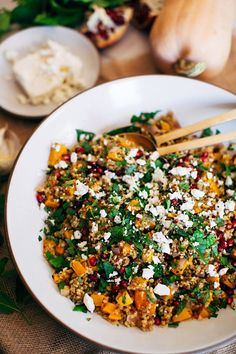 Warm Freekeh, Butternut Squash, and Pomegranate Salad | 50+ Gorgeous Grain Salads You'll Want to Pack For Lunch | POPSUGAR Food