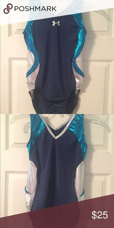 Under Armour Gymnastics Leotard AXL Basically brand new Under Armour leotard!  Navy blue nylon/spandex with turquoise and silver mystique side panels.  Comfortable tank style with v front and back. Under Armour Other