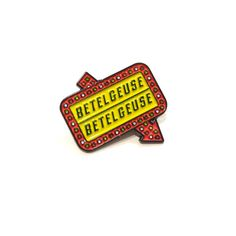 Inspired by the greatest film of all time, Beetlejuice. This Betelgeuse sign pin is a must-have for any ghoul! Soft enamel Measures 1x1 All additional