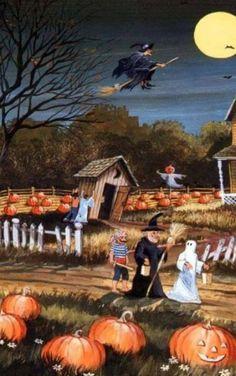 Retro Halloween, Halloween Chat Noir, Halloween Scene, Halloween Painting, Halloween Images, Halloween Prints, Halloween Cards, Holidays Halloween, Spooky Halloween