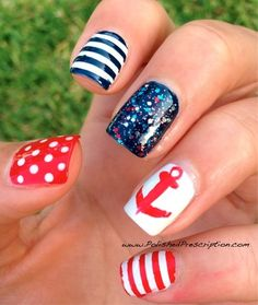 Nail Art/// patriotic nails nautical red white blue color palatte for manicure nail art design polish anchor stripe striped stripes polka dot Love Nails, How To Do Nails, Pretty Nails, Fun Nails, Sailor Nails, Patriotic Nails, Nautical Nails, Nail Art Stickers, Cute Nail Designs