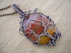 Tree of Life Pendant Red Brown Orange Flame Jasper with Citrine beads and Garnet Wire Wrapped in Oxidized Copper