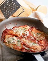 Quick and Easy Chicken Parmesan - so I had to whip up something quick for dinner last week, and had leftover pasta and most of these ingredients in the pantry. This really was quick and easy:  I sliced the chicken instead of pounding it, and got this on the table in about 20 minutes.