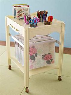 I love my tea cart. It's such a versatile piece. It will work in the office or for project cart in the craft room. I like the cups placed in this one.  Beyond The Picket Fence: My Pre-Garage Working Routine