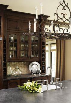 Traditional U Shaped Kitchen Walnut Cabinets Linda McDougald Design Postcard From Paris