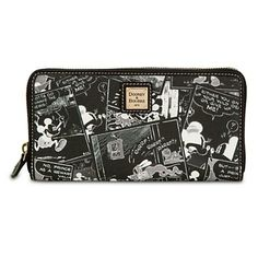 There's nothing negative about this lovely leather wallet by Dooney & Bourke, except the white image on black background. Mickey's fine fashion billfold is decorated with classic Disney comic strip art by the designer label you love. Dooney And Bourke Disney, Disney Dooney, Dooney Bourke, Disney Handbags, Disney Purse, Disney Addict, Disney Merchandise, Mickey Minnie Mouse, Disney Style