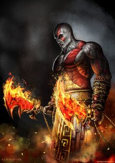 Kratos - God of War - Sam Denmark Kratos God Of War, Good Of War, God Of War Series, Hack And Slash, Gaming Wallpapers, Comic Games, Video Game Characters, Greek Gods, Fan Art