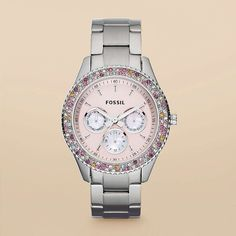 Can't decide if I like the pink or the silver face more but I love this watch, so fun! Fossil Stella Collection <3