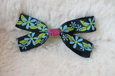 LovelyLake Navy Grosgrain and Flower Print Bow via Etsy