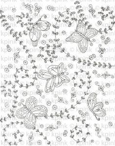 Butterfly Pattern I Dig Digi Stamp by idigdigi on Etsy