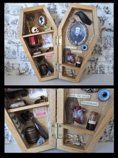 Gothic Jewelry Box Diy Edgar Allan Poe Miniature Coffin Shadow Box by Ah, the Macabre - Halloween Shadow Box, Halloween Crafts, Halloween Decorations, Haunted Dollhouse, Dollhouse Miniatures, Cadre Diy, Theme Harry Potter, Diy Shadow Box, Halloween Miniatures