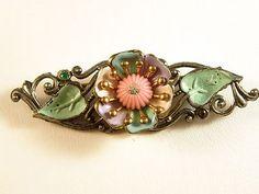 1930's Flower pin, by PinkChapeau on Ebay