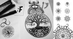 Viking & Yggdrasil #tattoo #viking #thor by a-fraga.com