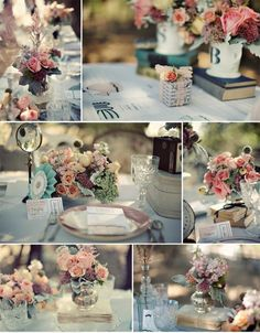 "Vintage wedding theme - - - this is what i originally wanted for my wedding.  guess i""ll have to do this for a shower theme! :)"
