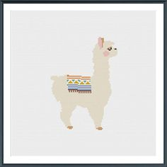 A wonderfully simple and sweet pattern. This lovely llama cross stitch pattern uses several coloured threads (see the end picture) but you could use any colours that fit your style. Instant PDF download. Try stitching it on black cloth for added drama (see second picture). This pattern uses basic cross stitch and is suitable for beginners . If you need any help with how to follow the pattern, just get in touch. This is a downloadable PDF cross stitch pattern. Once you order you can down…