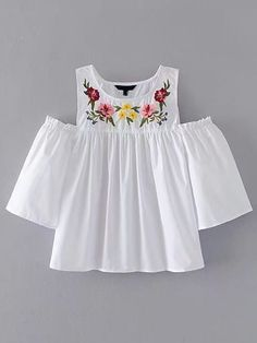 ROMWE offers Open Shoulder Flower Embroidery Top & more to fit your fashionable needs. Kids Outfits, Casual Outfits, Cute Outfits, Boho Fashion, Kids Fashion, Fashion Outfits, Mode Style, Blouse Designs, Shirt Blouses