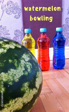 arbuzowe kręgle - zabawa dla dzieci na lato / watermelon bowling for kids #kidsactivities #watermelon Summer Crafts, Bowling, Watermelon, Activities, Fruit, Diy, Bricolage, Do It Yourself, Homemade