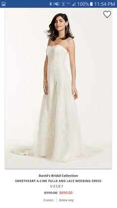 bebb816e97f David s Bridal Collection Sweetheart Tulle A Line Gown with Lace Appliques  Style