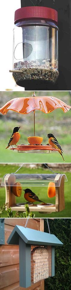 FOR THE BIRDS :: Some birdfeeder inspiration...The PB jar w/ a dowel is clever & cheap...You could get a wood plank & drill a hole in 2 holes in it...glue dowels in them--the bottom one as a perch, the top to stab an orange half thru for the birds. You enclose a slice of bread in some folded over wire mesh or cage material and hang w/ string....all inexpensive ideas. | #birdfeeders