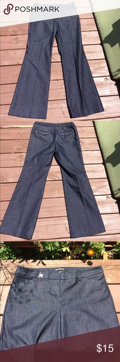 "Express Editor jeans Excellent condition.   Dark wash.  Flare leg.   31 in inseam with ""taped"" hem shown in picture.  Can let down to 33 inch.  2 front pockets with 2 flap pockets in back Express Jeans Flare & Wide Leg"