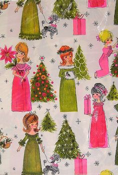 Vintage Pink and Lime Green Hallmark Christmas Gift Wrapping Paper Art Christmas Gifts, Hallmark Christmas, Christmas Paper, Retro Christmas, Vintage Holiday, Vintage Gifts, Vintage Cards, Vintage Paper, Modern Christmas