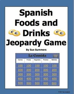 Spanish Food Jeopardy Game - La Comida by Sue Summers - This PowerPoint Jeopardy game contains 25 different Spanish food words. The 5 categories are carnes, frutas, vegetales, postres, and bebidas. Also included is a student handout. Spanish Vocabulary Games, Spanish Games, Spanish Phrases, Spanish Lessons, Spanish Food, How To Speak Spanish, Learn Spanish, Spanish 1, Future Tense Spanish