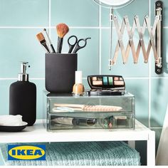 For your daily beauty routine – EKOLN keeps things streamlined. Daily Beauty Routine, Beauty Routines, Ikea, Floating Nightstand, Organization Ideas, Table, Furniture, Home Decor, Home