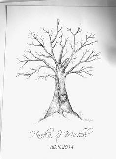 Svatební strom Tento svatební strom je dělaný tuší a černým linerem. Slouží k otiskům prstů pro hosty jako vzpomínka na svatební den, či jako svatební dar pro novomanžele. Velikost formátu je A2. Žádný strom není stejný a mění se podle Vašich přání. Pokud máte svůj oblíbený strom, je možné udělat právě TEN pro větší jedinečnost a osobitost. Na obrácích ...