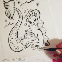 Signing all the original ink drawings to randomly hide them in the coloring books! Original Art by Claudette Barjoud, a.k.a Miss Fluff. www.missfluff.com #mermaids #mermaidstyle #mermaidart #missfluff #coloringbookforadults #coloringpages