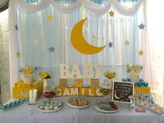 Loving the stars and moon backdrop at this Twinkle Twinkle Baby Shower! See more party ideas and share yours at CatchMyParty.com