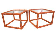 Coral  Faux-Bamboo Tables, Pair