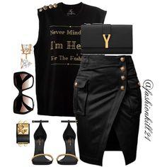 BADa$$ CLICK THE LINK IN THE BIO‼️ #dopetees  DETAILS: Shirt #Fashionkill21  Purse Shoes #Saintlaurent  Skirt #Balmain  Bracelet #Hermes  Frames #Prada #Styledbyfashionkill21