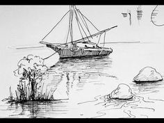 Pen & Ink Drawing Tutorials | How to draw water reflection❤️