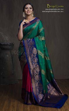 Tussar Silk Banarasi Saree in Half and Half Design in Pink, Green and Blue