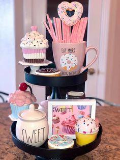 Cupcake Kitchen Decor, Tiered Stand, Valentines Day Decorations, Tray Decor, Seasonal Decor, Tier Tray, Marshmallows, Carrots, Kitchen Island