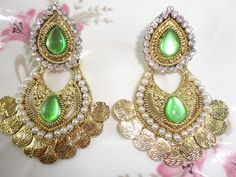 New Indian Bollywood Pearl Kundan Fashion Women Wedding Gold Tone Earrings Set #Tanisha #DropDangle