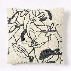 Fair Trade Looped Floral Pillow Cover - Slate #westelm