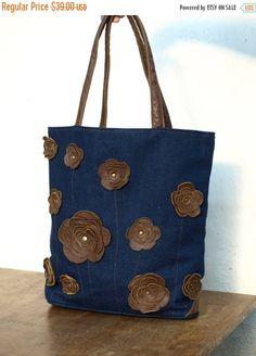 SALE brown leaher tote floral tote brown leather bag Denim