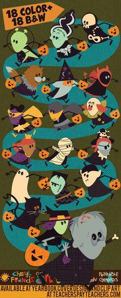 Halloween trick or treat clip art.