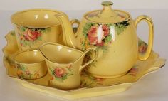 Rare Royal Winton Margaret Rose Chintz Breakfast Tea Set Teapot Cup Toast Tray