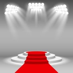 Stage podium illuminated scene spotlight party award ceremony with red carpet vector illustration PNG and Vector Photography Studio Background, Studio Background Images, Light Background Images, Lights Background, Red Carpet Background, Red And Black Background, Wedding Background, Decoration Disco, Fond Pop Art