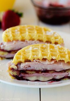 Monte Cristo Waffle Sandwiches from Life in the Lofthouse. Layers of Turkey Ham, Gooey Cheese and Raspberry Jam all sandwiched in between waffles - say what?! I'm all over this!