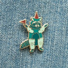 Party Animal Raccoon Enamel Pin with Rubber Clasp // Hard