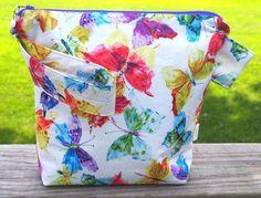 Bright Butterfly Medium Zippered Knitting by PrairieBagStudio