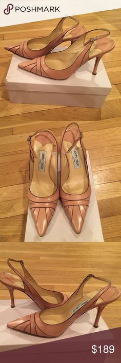 Jimmy Choo Powder Kid leather pointed toe heels Ohh la la. Oh so pretty. This gorgeous Jimmy Choo rarely worn slingback is ready to complement any closet. Ankle injury means I must reluctantly let them go. Jimmy Choo Shoes Heels