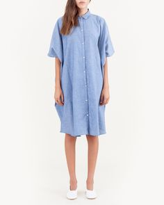 Sky Boxy Shirt Dress in Blue Chambray by SMOCK.